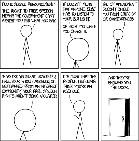 Free Speech (via xkcd)