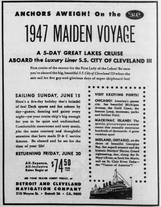 SS Cleveland III 1947 cruise